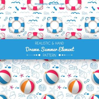 Padrões de elemento de verão realista e mão desenhada