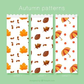 Padrões de elementos de outono de aquarela