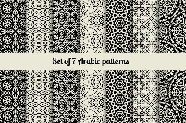 Padrões de estilo árabe preto e branco