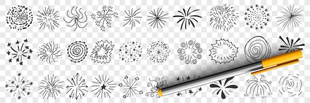 Padrões de estrelas e desenhos de linhas doodle ilustração definida
