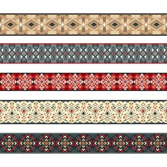 Padrões de fitas nativas. fitas de índio americano, ilustração de vetor de fronteiras tribal listra natividade