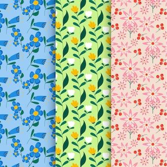 Padrões de flores de design plano orgânico