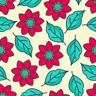 Padrões de flores e folhas