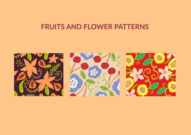 Padrões de flores e frutos