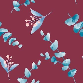 Padrões de folha em aquarela no vector vermelho