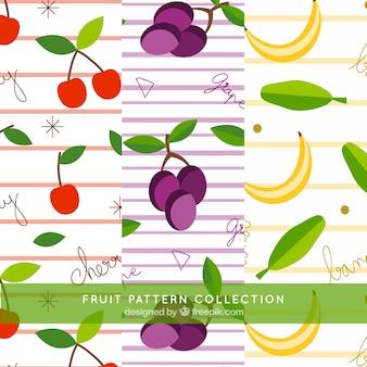 Padrões de frutas e linhas