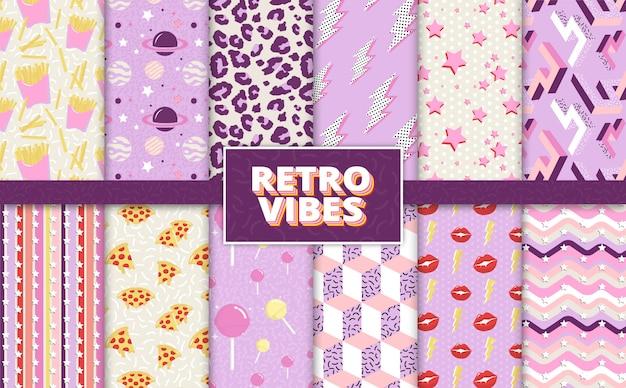 Padrões de fundo colorido estilo retro de volta aos anos 90