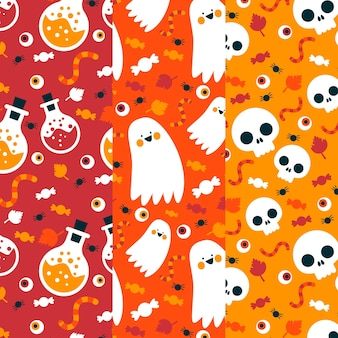 Padrões de halloween caveiras e fantasmas