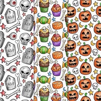 Padrões de halloween com desenhos