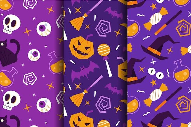 Padrões de halloween de design plano