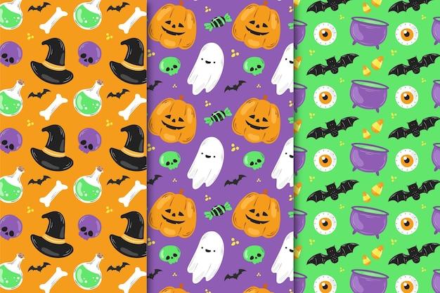 Padrões de halloween desenhados à mão