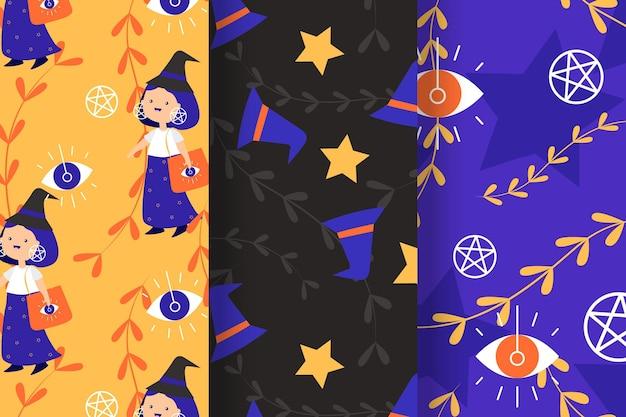 Padrões de halloween em design plano