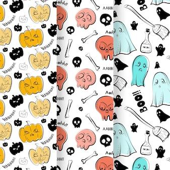 Padrões de halloween em estilo desenhado à mão
