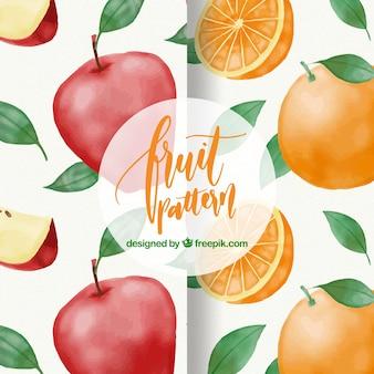 Padrões de maçãs e laranjas aquarela