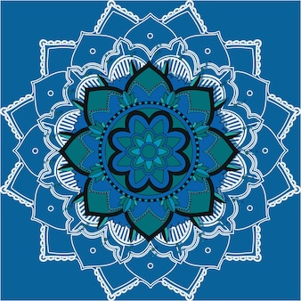 Padrões de mandala em fundo azul