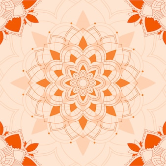 Padrões de mandala em fundo laranja