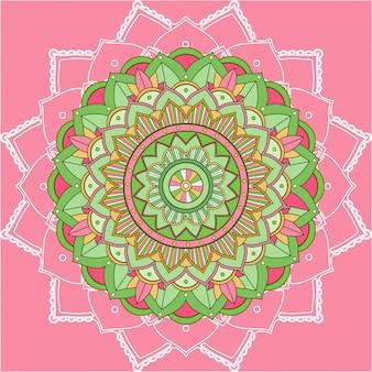 Padrões de mandala em fundo rosa