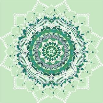 Padrões de mandala em fundo verde