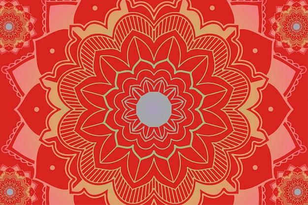 Padrões de mandala em fundo vermelho