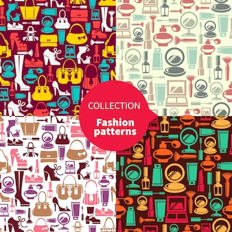 Padrões de moda. conjunto de padrões sem emenda com ícones femininos de beleza