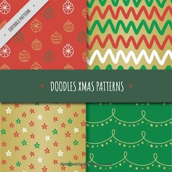 Padrões de natal doodles elementos