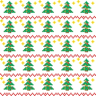 Padrões de natal em estilo de pixel art