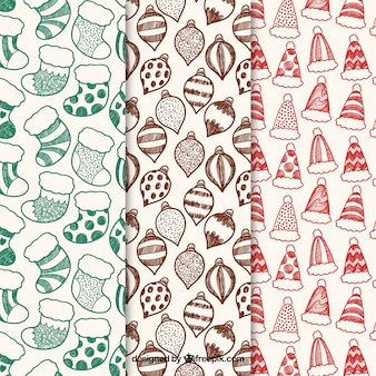Padrões de natal em três variações de cor