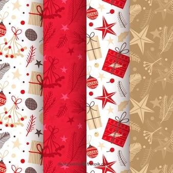 Padrões de natal em vermelho, bege e branco