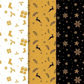 Padrões de natal pretos e dourados