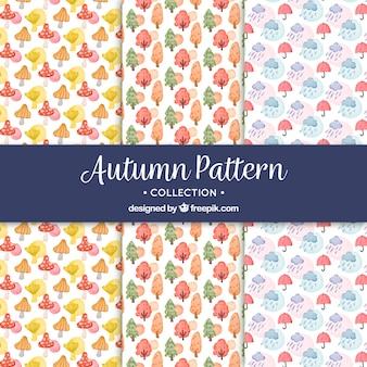 Padrões de outono de aquarela com estilo adorável