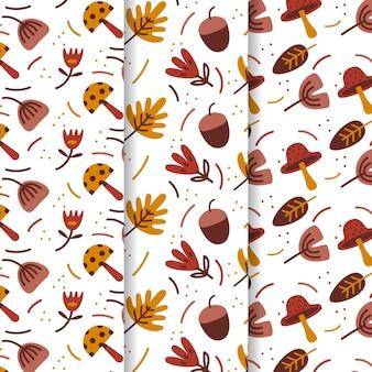 Padrões de outono de design plano