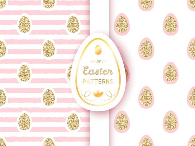 Padrões de páscoa com ovos de ouro sobre fundo listra