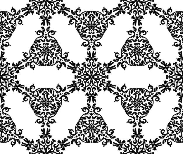 Padrões de preto em um fundo branco padrão de vetor sem costura com ornamento cor preto e branco
