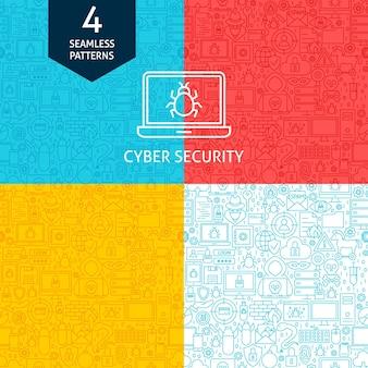 Padrões de segurança cibernética em linha. quatro fundos sem emenda do design do site do vetor.