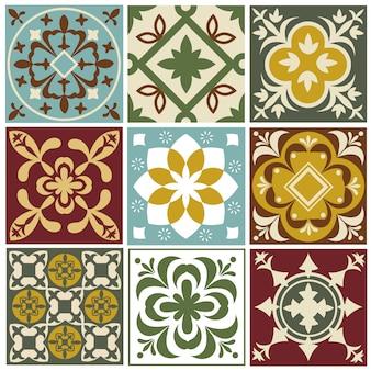 Padrões de vetores de azulejos portugueses. azulejos antigos de azulejos mediterrânicos