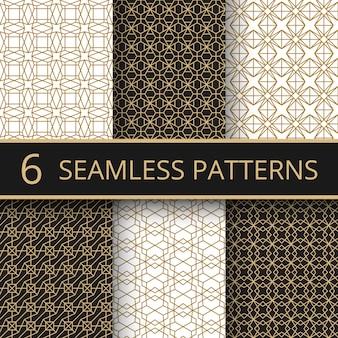Padrões de vetores sem costura geométricas ouro na moda com formas de linha dourada simples