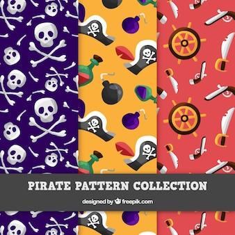 Padrões decorativos com acessórios piratas