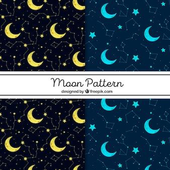 Padrões decorativos com luas amarelas e azuis