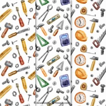Padrões decorativos de ferramentas aquarela