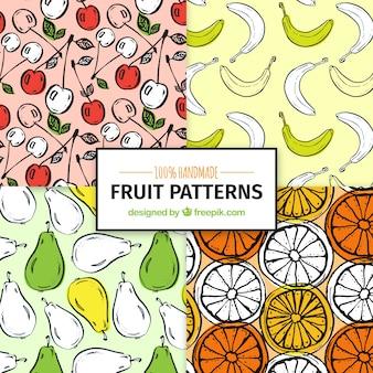 Padrões decorativos de frutas desenhadas à mão