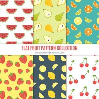 Padrões decorativos de frutas planas