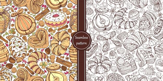 Padrões desenhados à mão, com coleção de doces pães retorcidos e nozes em estilo vintage.