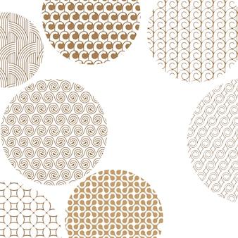 Padrões diferentes dourados geométricos redondos no branco