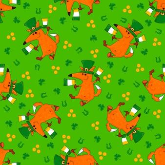 Padrões do dia de são patrício com raposas e simbols irlandeses