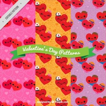 Padrões do dia dos namorados dos corações com fundos coloridos