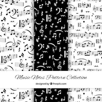 Padrões em preto e branco com notas musicais