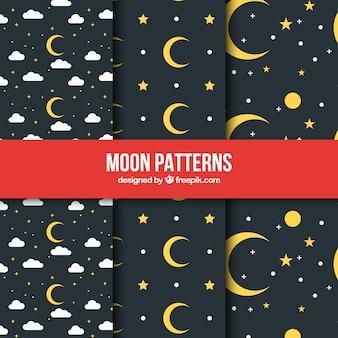 Padrões escuros com luas amarelas e estrelas no design plano