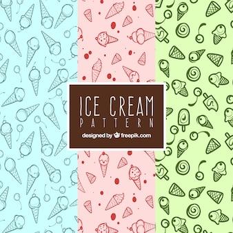 Padrões fantásticos de sorvete em estilo desenhado à mão