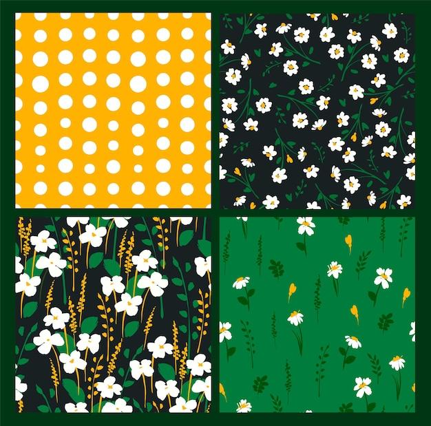Padrões florais abstratos sem costura com camomila.