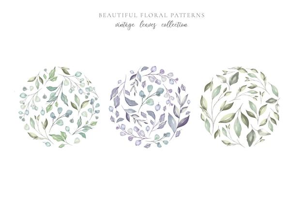 Padrões florais bonitos com folhas em aquarela